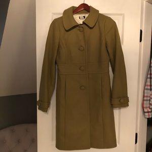 Jcrew olive green dress coat